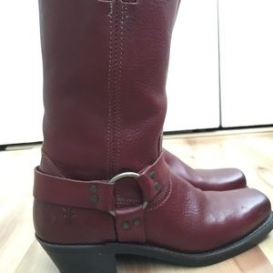 FRYE Harness Boots! Deep red color. Women's 10